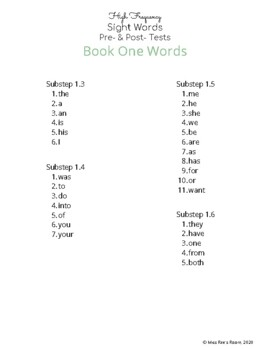 High Frequency Sight Words Pre- & Post- Tests