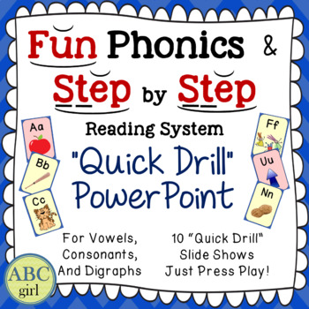 """Quick Drill"" PowerPoint for SMARTboard Phonics (Letter Keyword Sound Review)"