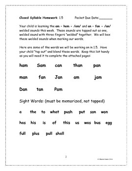 Closed Syllable 1.5 Supplemental Homework Packet