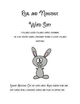 Step 2 Real and Nonsense Word Sort Closed Syllable Words w