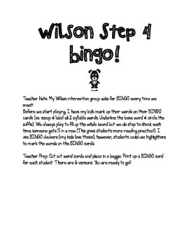 Step 4 Bingo! VCe Syllables Review for Post Test