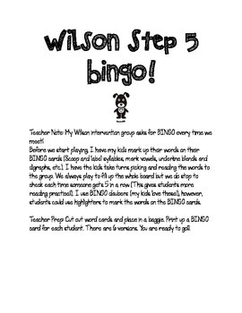 Step 5 Bingo! Review for Post-Test