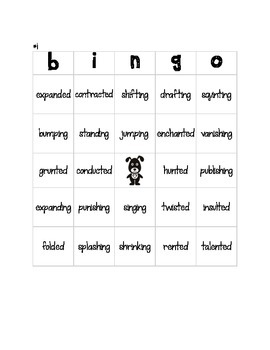 Substep 3.5 Bingo! Reading Words with suffixes -ed and -ing