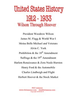 Wilson to Hoover - U.S. Warm Up/Review Lessons Using First Day Covers