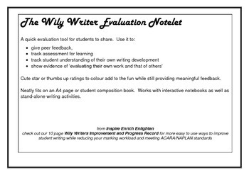 Wily Writer Peer and Self Evaluation Notelet
