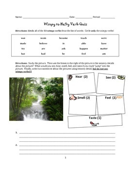Wimpy Verb Unit: Replacing Dull Verbs Practice or Quiz