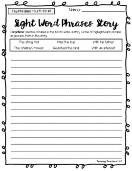 Fry Word Phrases - Fourth, Fifth, & Sixth 100 Phrases - Writing Activity