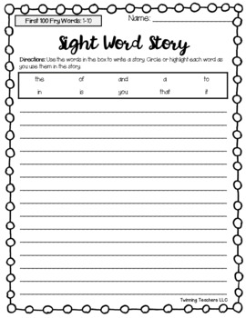 Fry Words - First, Second, & Third 100 Words - Writing Activity
