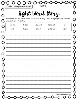 Fry Words - Seventh, Eighth, Ninth, & Tenth 100 Words - Writing Activity
