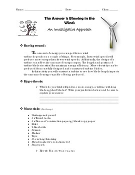 Wind Energy - An Investigative Approach - Labratory Experiment