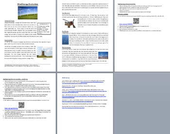 Wind Energy Production - Science Reading Article - Grades 5-7