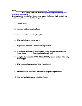 Wind Energy Webquest Questions