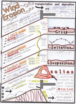 Wind Erosion: Earth Science Doodle Notes