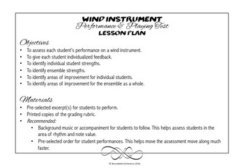 Wind Instrument Performance Grading Rubric & Lesson Plan