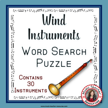 Music Word Search: Music Instruments: Wind Instruments