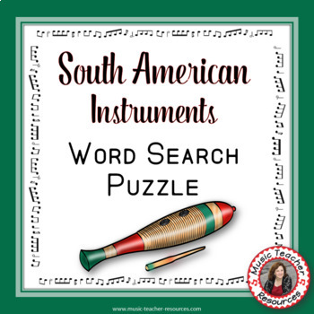 Music Word Search: South American Instruments: Music Game