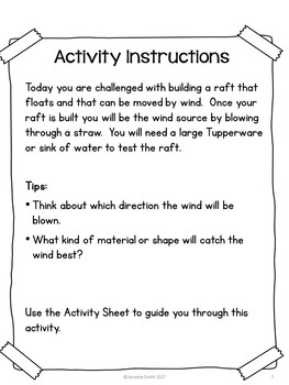 Wind Powered Raft:  STEM Challenge in a Bag