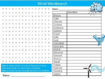 Wind Wordsearch Sheet Starter Activity Keywords Science Physics