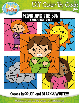 Wind and the Sun Color By Code Clipart {Zip-A-Dee-Doo-Dah Designs}