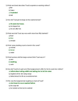 Wind in the Willows Ch. 10 Quiz
