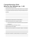 Wind in the Willows Comprehension Quiz ch. 1-3