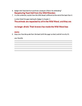 Wind in the Willows Comprehension Quiz ch. 10-12