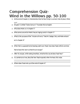 Wind in the Willows Comprehension Quiz ch. 4-6