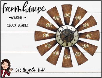 Windmill Clock Blades Farmhouse/Rustic