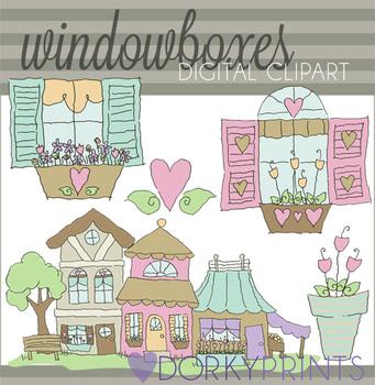 Window Box Digital Clip Art
