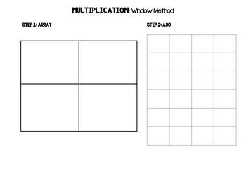 Window/Box Method Graphic Organizer for Multiplication