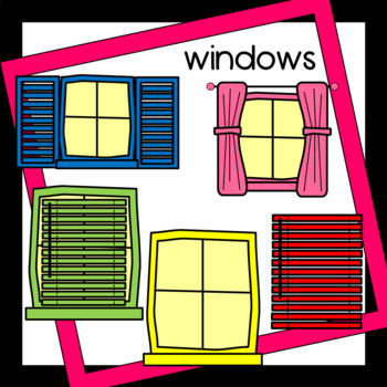 Window Clipart Windows Blinds Shutters Curtains Many Colors And Bw