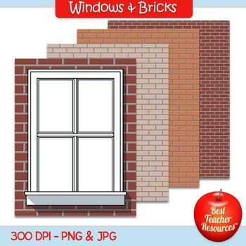 Windows & Bricks Clip Art