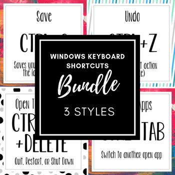 Windows Keyboard Shortcuts Bundle (3 styles)