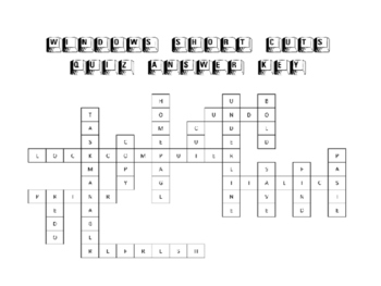 Windows short cuts cross word