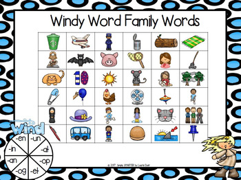 Windy Word Family Words:  NO PREP Four in a Row Game