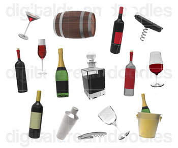 Wine Clipart - Winery Bottles Digital Graphics