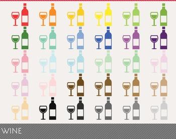 Wine Digital Clipart, Wine Graphics, Wine PNG, Rainbow Wine Digital Files