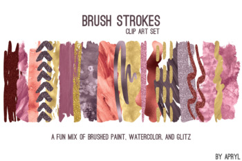 Wine Gold Brush Strokes Paint Glitter Foil Watercolor 20 PNG Clip Art 12in CU