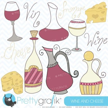 Wine and cheese clipart, commercial use, vector graphics - CL366