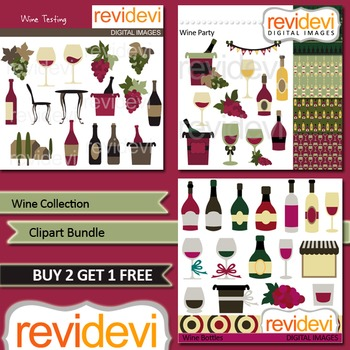 Wine collection clip art bundle (3 packs) wine glasses and bottles