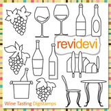 Wine tasting clip art (digital stamps, outline graphics for coloring) S064