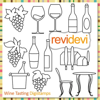 Wine tasting clip art (digital stamps, outline graphics fo