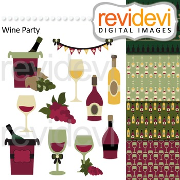 Wine tasting clip art - wine bottles and wine glasses. Wine Party Clipart