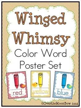 Winged Whimsy Color Words Poster Set