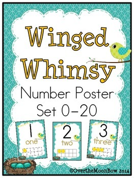 Winged Whimsy Birds Number Poster Set