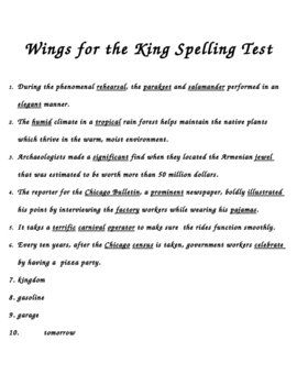 """Wings for the King"" Spelling Dictation Test"