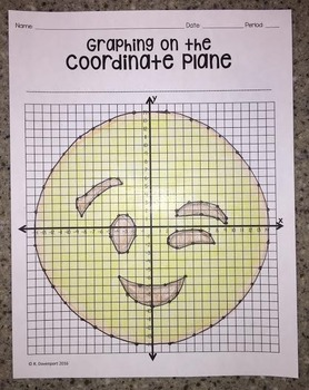 Winking Face EMOJI (Graphing on the Coordinate Plane/ Mystery Picture)