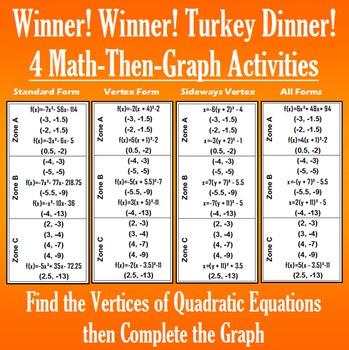 Winner! Winner! Turkey Dinner! - Finding Vertices - 4 Math-Then-Graph Activities