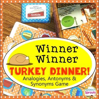 Analogies, Synonyms, Antonyms & Categories Turkey Dinner Activity
