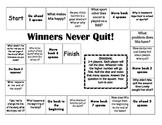 """Winners Never Quit!"" Comprehension Game Board- Journeys story 1st grade"
